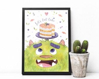 Sweet Monster, Watercolor Print, Nursery Art, Digital Art, Download Art, Printable Wall Art, Monster Digital Watercolor Download, Room decor