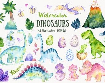 Watercolor dinosaur clipart, Dinosaur illustration, Babyshower dinosaur, Dinosaur birthday party, Baby dinosaur, T Rex, Dinosaur baby PNG