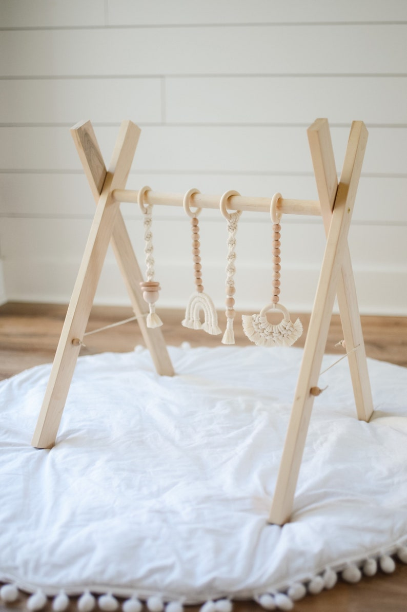 Maple wood play gym with macrame toys play gym for baby wood image 0