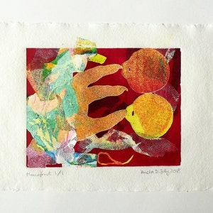 A4 High Quality Handmade Cotton Paper Psychedelic Contrasting Colours Surrealist Sci-Fi Collage Print