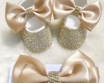 89c3927edbd6 Baby Girl Rhinestone Crib Shoes - Baby Girl Luxury Crib Shoes - Baby Girl  Gold Rhinestone Crib Shoes