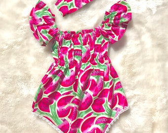 ad111f2c440e Baby Girl Watermelon Romper   Pink and Green Romper   Pink and Green Watermelon  Romper   Watermelon Outfit   Watermelon Romper