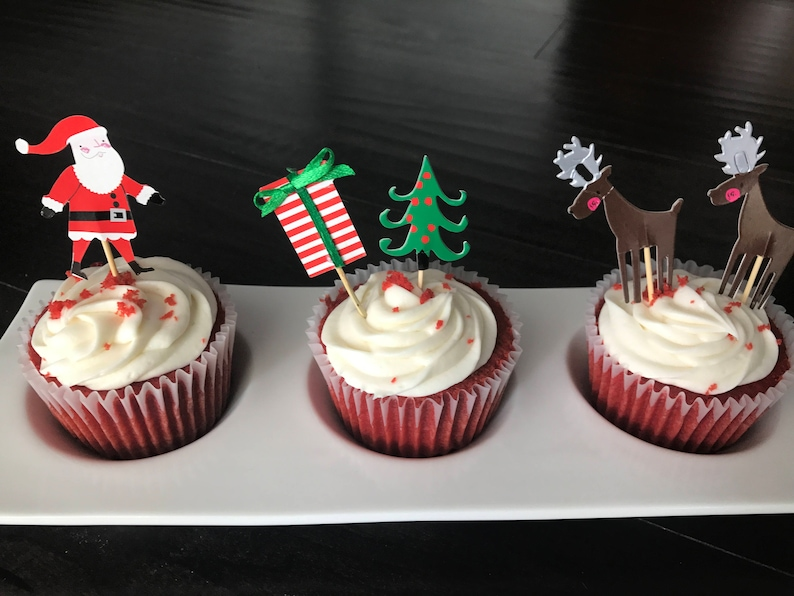 Christmas Cupcake Toppers Christmas Tree Topper Christmas Reindeer Cupcake Topper Ready To Ship 24ct