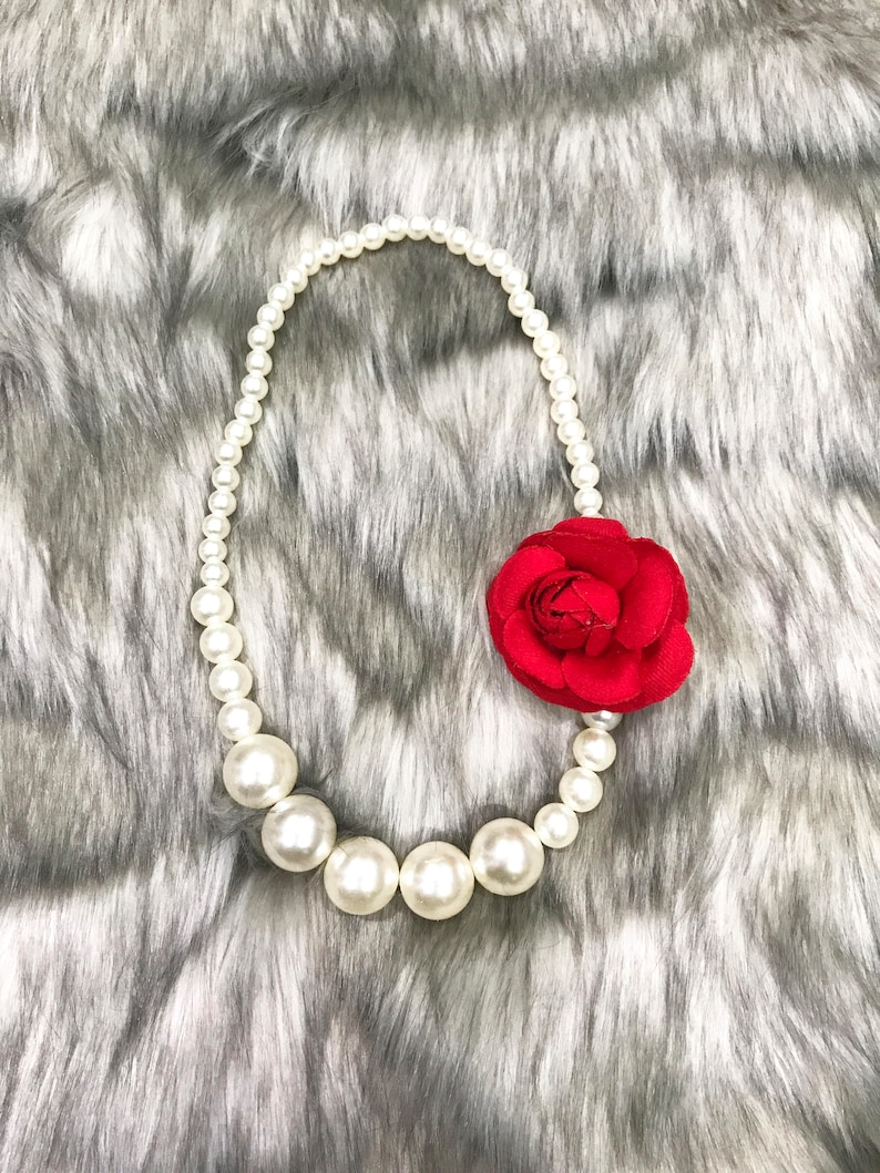 Smash Cake Photo Prop Necklace  Baby Pearl Necklace  Baby Necklace with Flowers  Pearl Necklace  Smash Cake Necklace  Baby Necklace