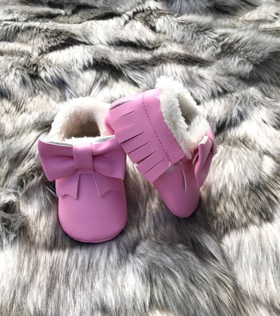 Baby Girl Moccasin Baby Moccasins Bow
