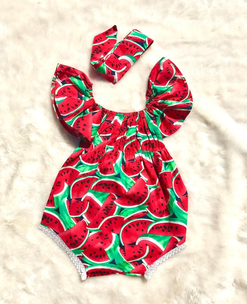 87182453b Baby Girl Watermelon Romper / Baby Girl Romper / Spring Romper   Etsy