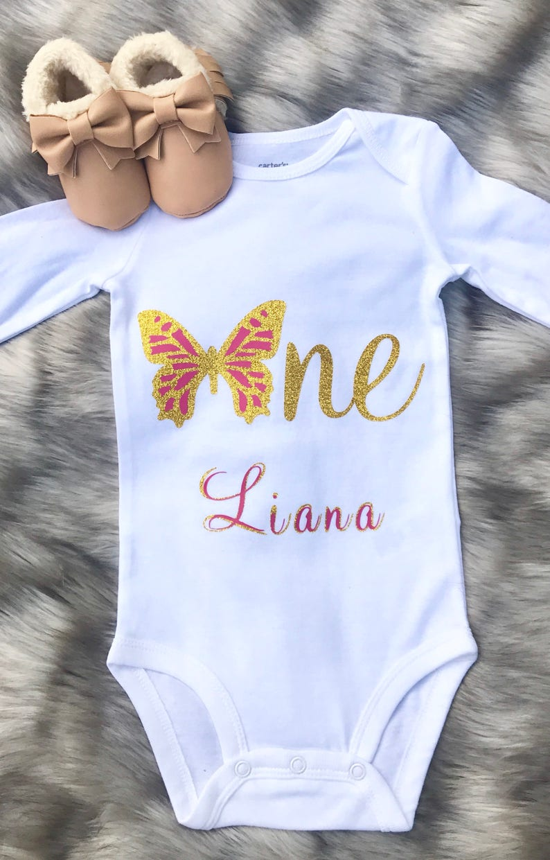Baby Girl First Birthday Butterfly Outfit First Birthday BodysuitButterfly One BodysuitGlitter One Bodysuit Glitter Birthday Bodysuit