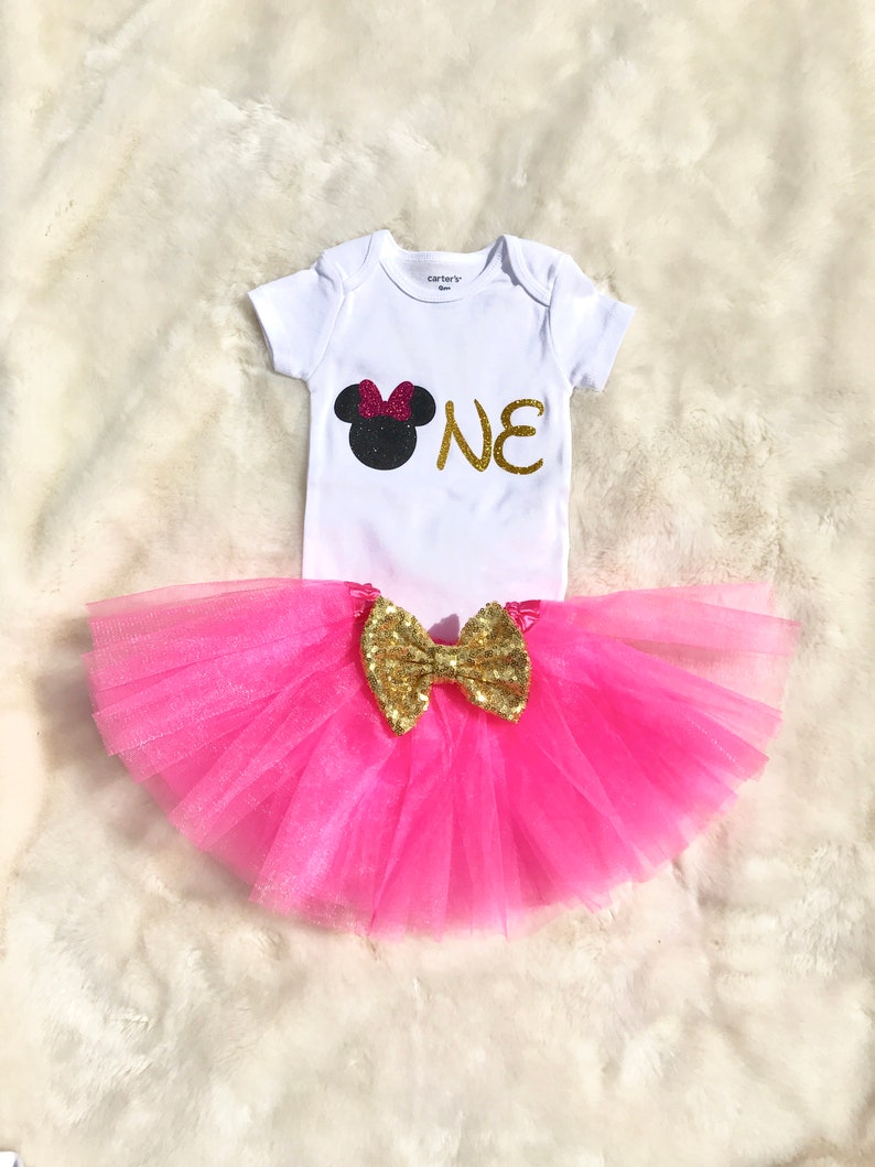 cd7f324abe2e Minnie Mouse Birthday Outfit Baby Girl First Birthday Outfit