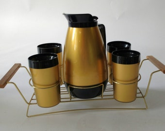 DECANTER & 4 glasses Spa with tray vintage 1960's