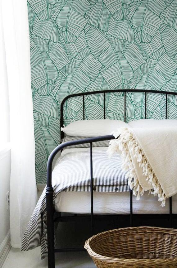 Aqua Leaves Removable Wallpaper Traditional White Print Etsy