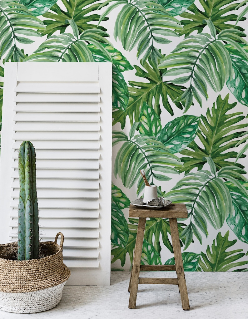 Jungle Leaves Wallpaper  Exotic Mural  Wall covering  Peel image 0