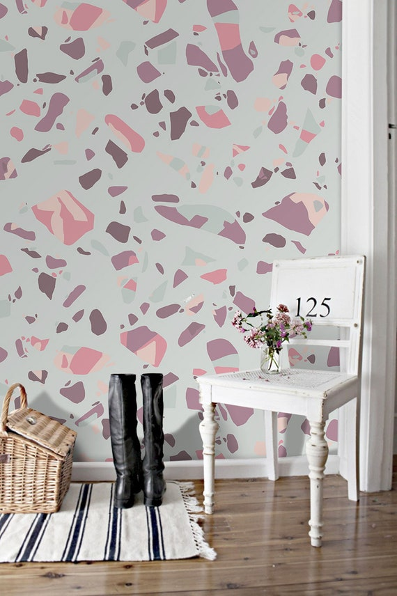 Pastel Terrazzo wall removable Wallpaper - Marble Mosaic Wallpaper - Modern  Home Decor - Granite Flooring Wallpaper - Peel and Stick #201