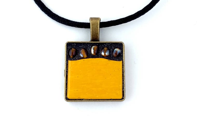 mosaic pendant gift for her sparkling topaz beads Sunny yellow and topaz necklace mosaic jewellery funky mustard yellow glass tile