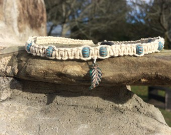 Feather Charm Hemp Choker Necklace