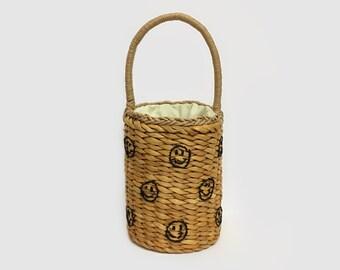 Smile Face Plaited Straw Bag