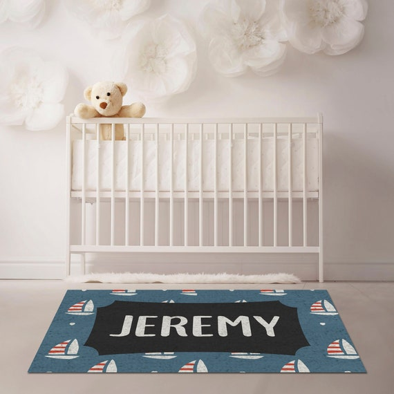 Personalized Nautical Nursery Rugs Nautical Decor Blue Rug Etsy
