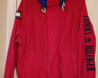 9abe82cf Vintage Tommy Hilfiger Spell Out Sleeve Flag Logo Color Block M 90s Jacket  Hooded