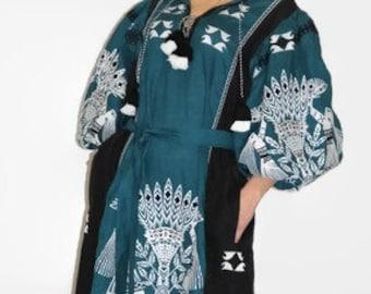 Ukrainian embroidered boho dress vyshyvanka Colorblock green Ukraine dresses long kaftan abaya robe plus size bohemian clothing trapeze