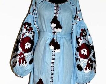Ukrainian dress vyshyvanka Long trapeze open front slit embroidered kaftan Boho abaya Bohemian dresses Ukraine vishivanka Custom embroidery