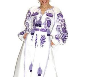 Ukrainian dress vyshyvanka women open front slit Boho embroidery trapeze clothing Embroidered dresses Kaftan Dubai Abaya Bohemian vishivanka
