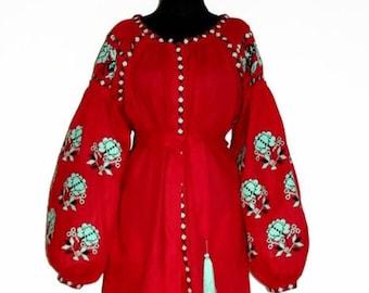 Embroidered Dress Vishivanka Vyshyvanka Ukrainian Embroidery Ukrainian Dresses Kaftan Abaya Boho Clothing Ethnic Ukraine Bohemian Clothes