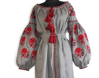 Embroidered dress Vyshyvanka Ukrainian embroidery Caftan Dubai abaya Custom boho dresses Ethnic Ukraine vishivanka grey linen robe kaftan