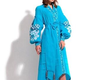 Bohemian Clothing Kaftan Abaya Dress Vyshyvanka Woman Boho Clothes Ukrainian Embroidery Embroidered Dresses Vishivanka Open in front