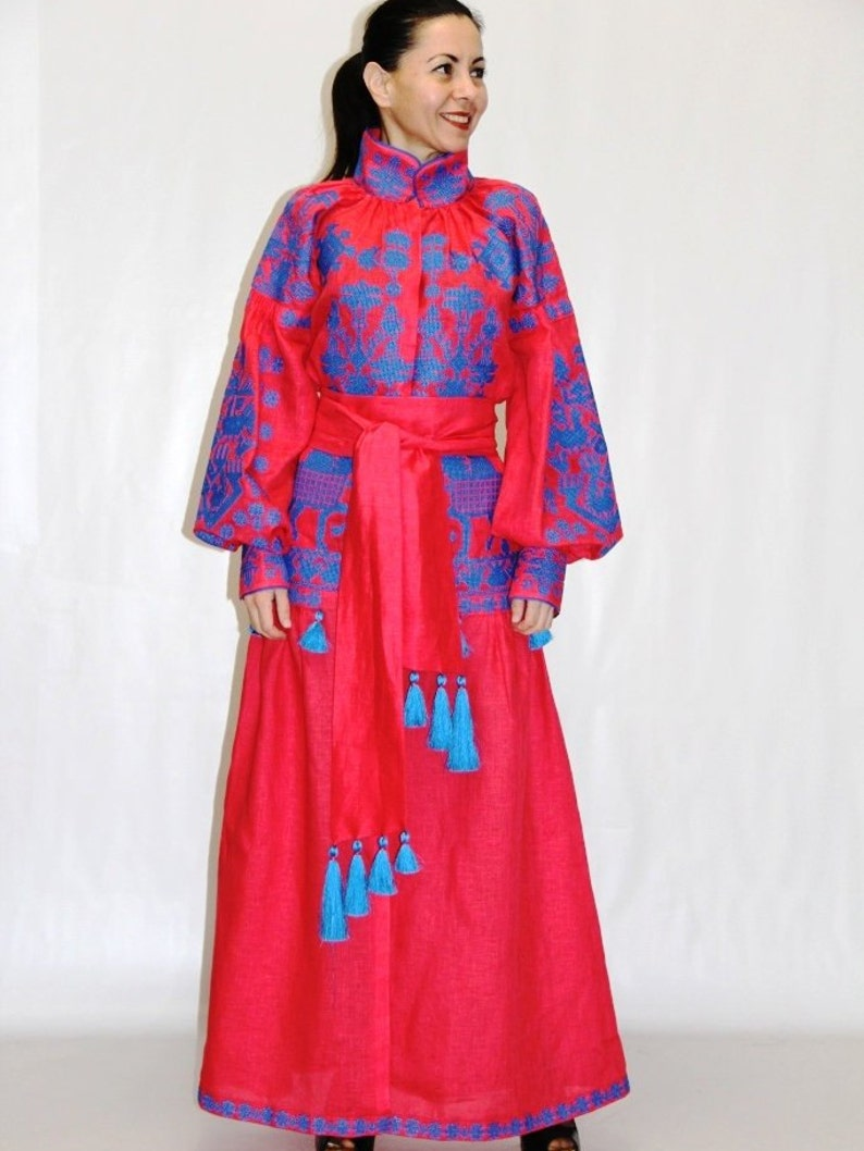 5eb86d5dda3 Coral wrap dress cover up Embroidered boho kaftan with ethnic