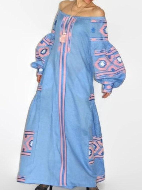 a259c4bdb9 Blue boho maxi dress off shoulder Vyshyvanka with Ukrainian