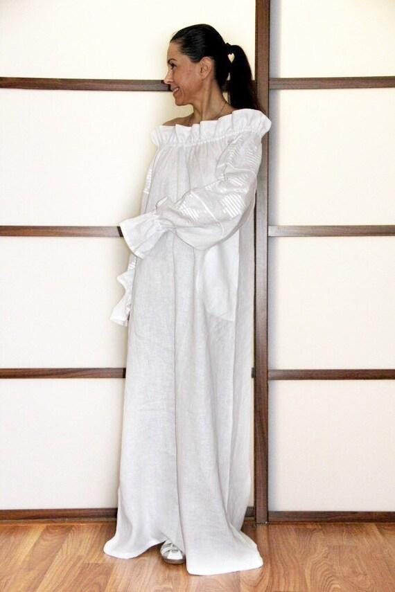 Off shoulder peasant dress Plus size maxi vyshyvanka with Ukrainian  embroidery Bohemian embroidered robe White boho dress prairie gown