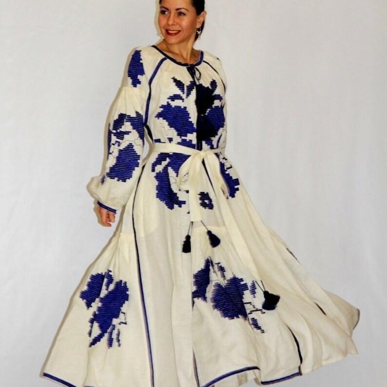 befa9a30ce2af Custom wedding dress with floral Ukrainian embroidery Plus | Etsy