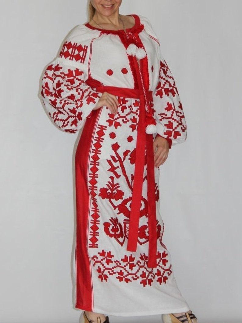b21210b8e6e White boho maxi dress with red floral Ukrainian embroidery