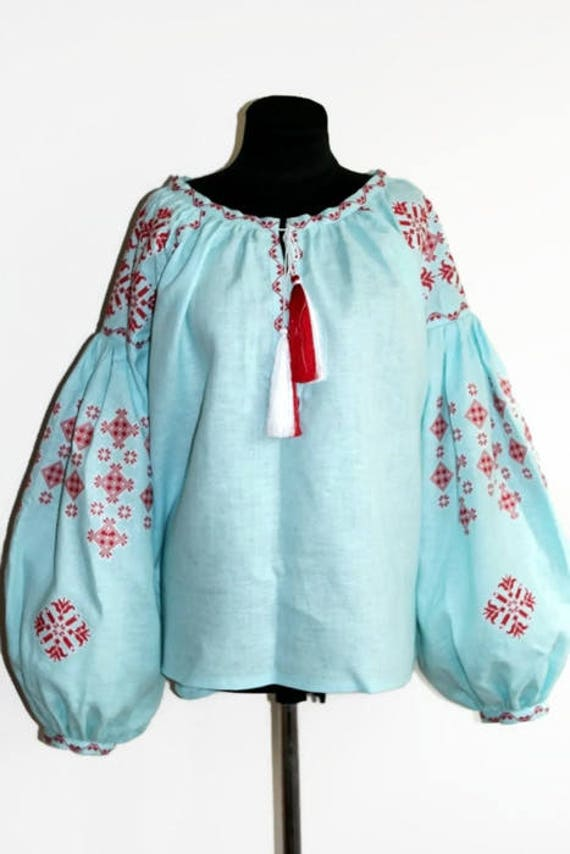 f359712d277 Peasant linen blouse plus size Vyshyvanka with ethnic