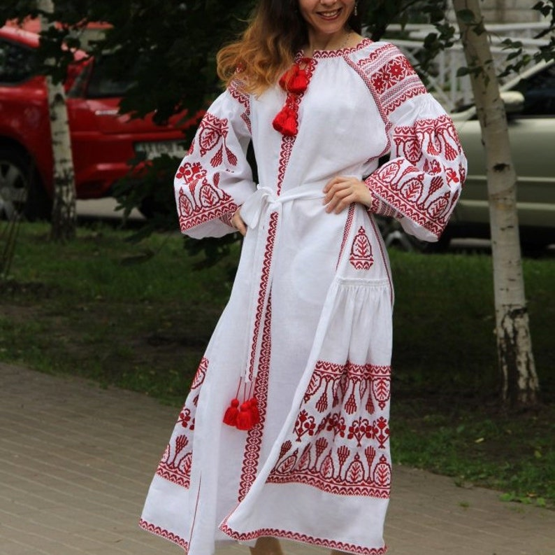 fdf08f8480 Boho wedding dress Vyshyvanka with Ukrainian embroidery Plus
