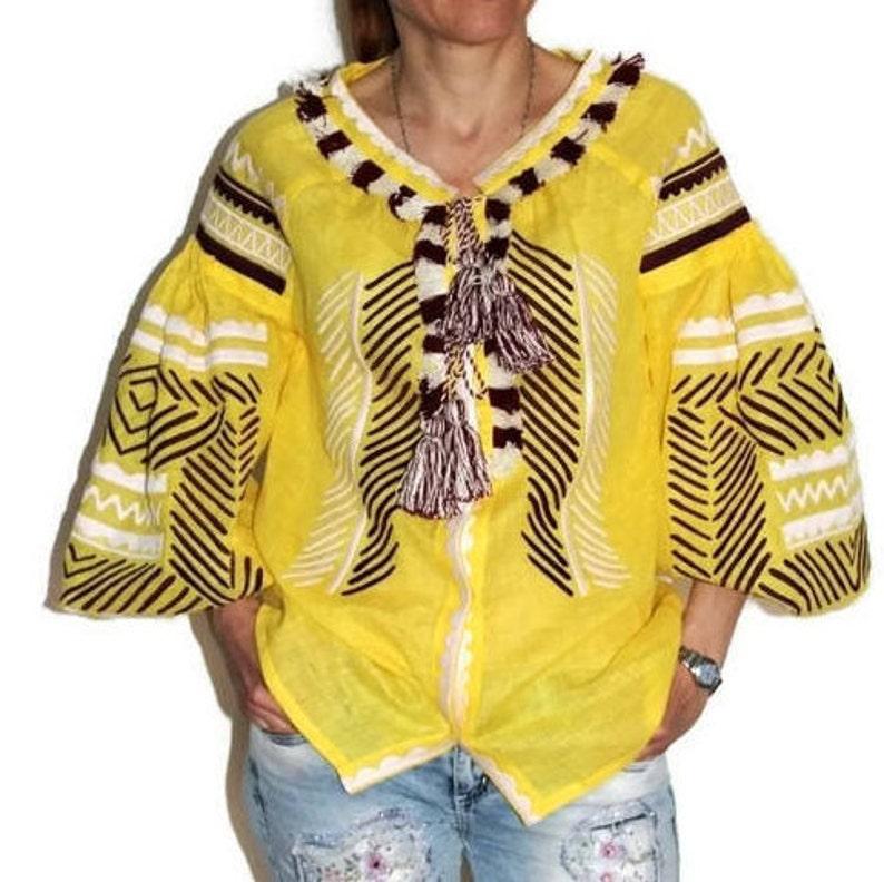 Sheer yellow boho blouse top Vyshyvanka with Ukrainian embroidery Peasant linen top Custom embroidered shirt Bohemian christmas vocation