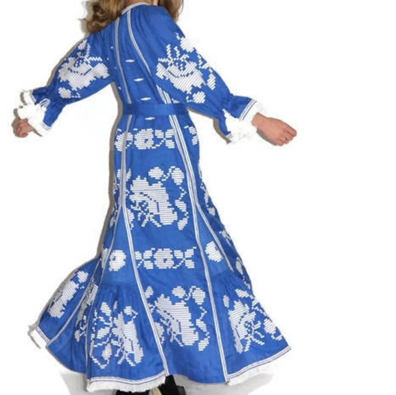 080740f139c Blue boho dress maxi Embroidered linen gown with floral