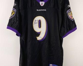 92ce3e45650 Rare Vintage Reebok NFL Baltimore Ravens #9 Steve McNAIR Signature Patch  Sewn American Football Jersey T-Shirt Men's 56