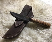 Jeff White Patch knife with leather sheath
