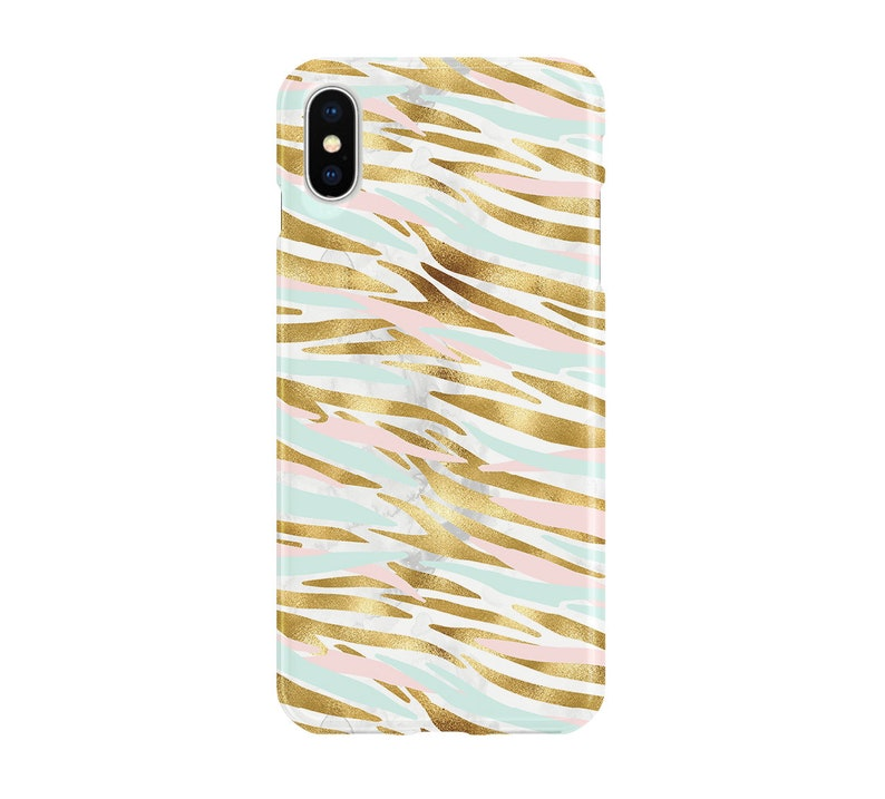 5d8bf71b71 Mint Pink Gold Tiger Stripe Case iPhone X Samsung S9 Pixel | Etsy