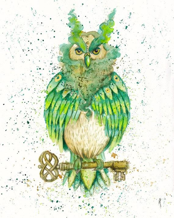 Magic Owl Print Owl Animal Totem Spiritual Wisdom Owl Of Athena Key Art Owl Art Third Eye Art Power Animal Shamanic Owl