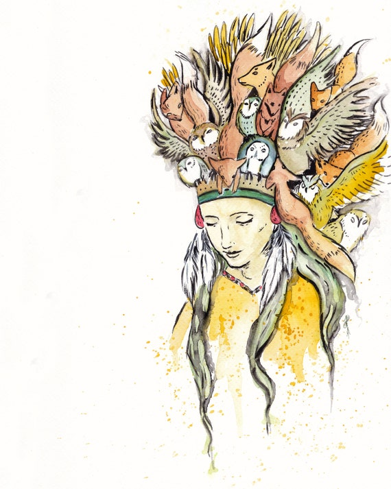 Watercolor Shamanic woman with spirit animal art print, native spiritual  guide for shaman journey, woodland fox totem and owl power animals