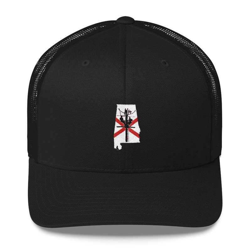 8380ddc05571a Alabama State Outline with Flag Power Lineman Trucker Cap