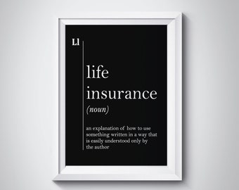 Life Insurance Definition Agent Gift Office Decor Art Wall Black And White