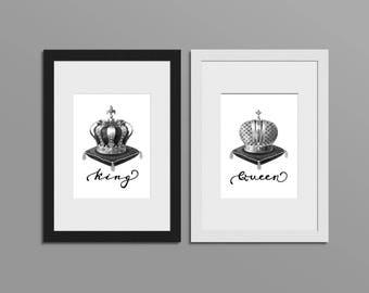 König Und Königin Wand Dekor, König Und Königin Krone, Paare Geschenk,  König Und Königin Kronen, Schach Druck, Schlafzimmer Dekor, Schach Dekor,  #HQSET07