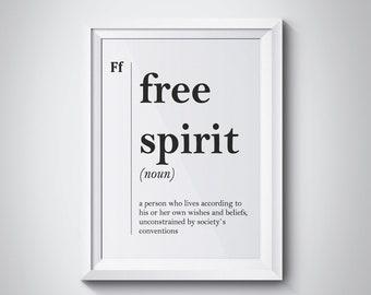 Free Spirit Definition Print Teenager Gift Idea Teen Room Decor Dorm Wall  Art Modern Wall Decor Scandinavian Wall Art Friend Gift Dictionary
