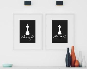 König Königin Druck Schlafzimmer Wand Kunst Paar Familie Dekor Poster Liebe  Zeichen Hochzeit Geschenk Idee Modern Home Schwarz Und Weiß Geschenk Für  Mann ...
