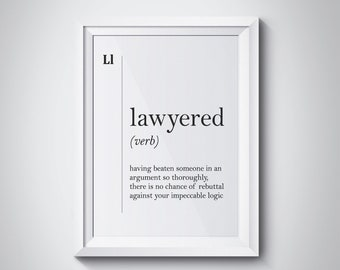 20dcd5b9f92 Lawyered definition Lawyer Gift Funny Lawyer Poster Attorney Gift Office  Decor Coworker Gift Dictionary Art Scandinavian Art Law Wall Art