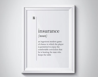 Insurance Wall Art Gift Agent Office Decor Definition Funny Quotes Typography