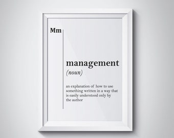 Management Definition Print Manager Gift Boss Gift Office Decor Office Wall Art New Job Gift Graduation Gift Boss Leaving Gift Funny Prints