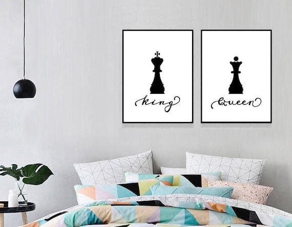 Re regina stampa camera da letto parete arte coppia scacchi stampa Poster  Bedroom Decor anniversario di nozze regalo Idea regalo camera da letto ...